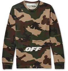 Off-White - Slim-Fit Logo-Embroidered Camouflage-Print Cotton-Jersey T-Shirt