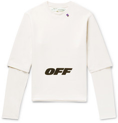 Off-White Wing Off Oversized Layered Printed Jersey Sweatshirt