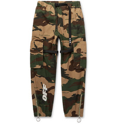 Off-White Webbing-Trimmed Camouflage-Print Cotton-Ripstop Cargo Trousers