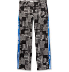 Off-White Webbing-Trimmed Checked Cotton-Blend Trousers