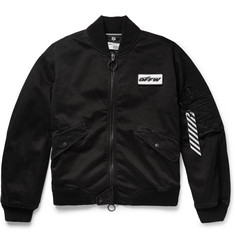 Off-White Embellished Distressed Stretch-Cotton Twill Bomber Jacket