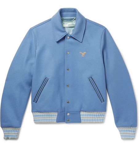 Embroidered Wool-blend Felt Bomber Jacket