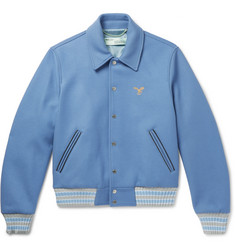 Off-White Embroidered Wool-Blend Felt Bomber Jacket