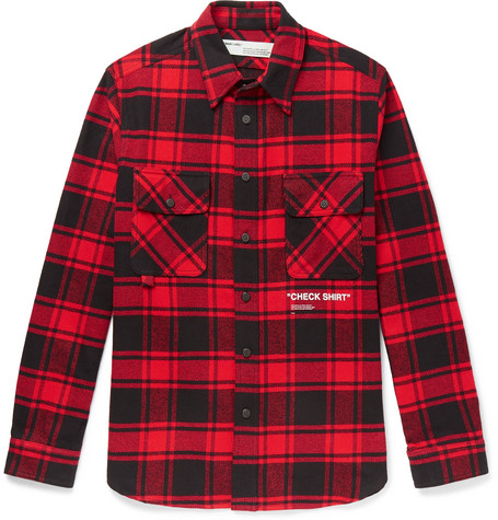 Printed Checked Cotton Blend Flannel Overshirt by Off White