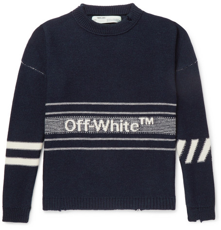 OFF-WHITE Oversized Distressed Logo-Intarsia Wool Sweater, Navy