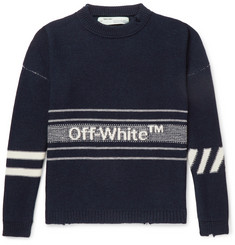Off-White Oversized Logo-Intarsia Wool Sweater