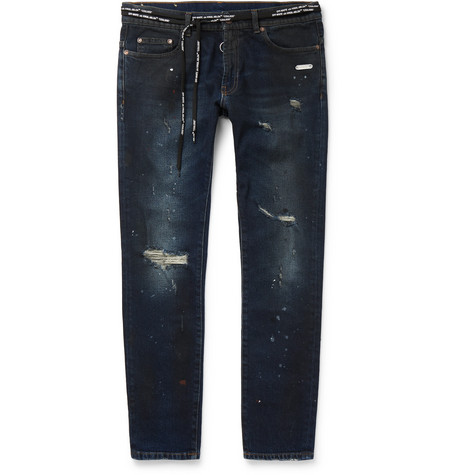 Skinny-fit Distressed Stretch-denim Jeans