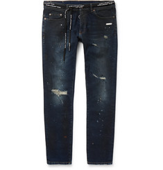 Off-White Skinny-Fit Distressed Stretch-Denim Jeans