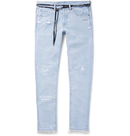 Slim Fit Embroidered Distressed Denim Jeans by Off White