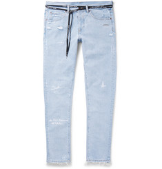 Off-White Slim-Fit Embroidered Distressed Denim Jeans