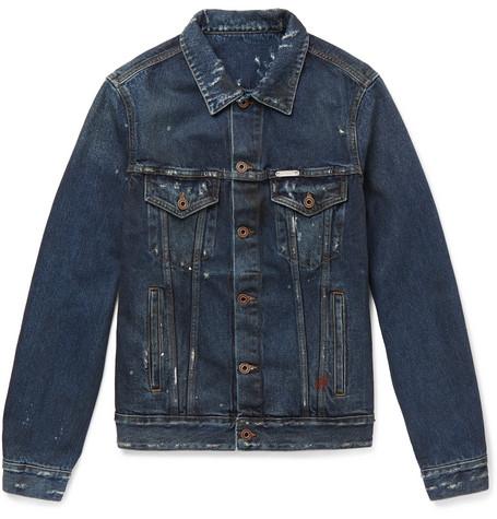 Slim-fit Distressed Denim Jacket