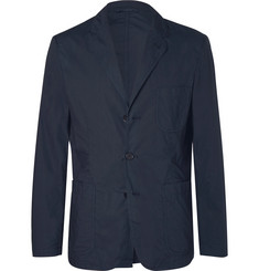 Aspesi Navy Slim-Fit Unstructured Garment-Dyed Cotton-Poplin Blazer