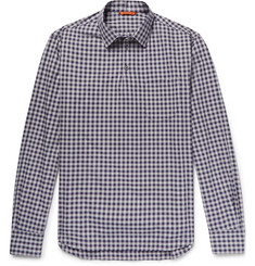 Barena Checked Cotton-Poplin Half-Placket Shirt