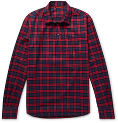 Barena Slim-Fit Checked Cotton-Twill Half-Placket Shirt