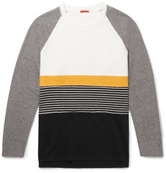 Barena Panelled Cotton-Jersey, Brushed-Twill and Striped Virgin Wool-Blend Sweatshirt