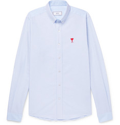 AMI Button-Down Collar Striped Cotton Oxford Shirt