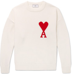 AMI Oversized Intarsia Cotton Sweater