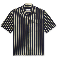 AMI Camp-Collar Striped Twill Shirt