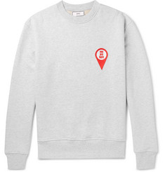 AMI Appliquéd Mélange Fleece-Back Cotton-Jersey Sweatshirt