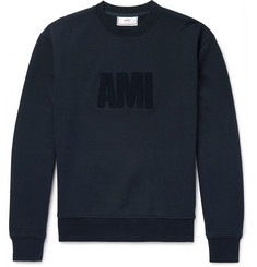 AMI Logo-Flocked Fleece-Back Cotton-Jersey Sweatshirt