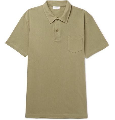 Sunspel Riviera Slim Fit Cotton-mesh Polo Shirt - Light blue TLiQk