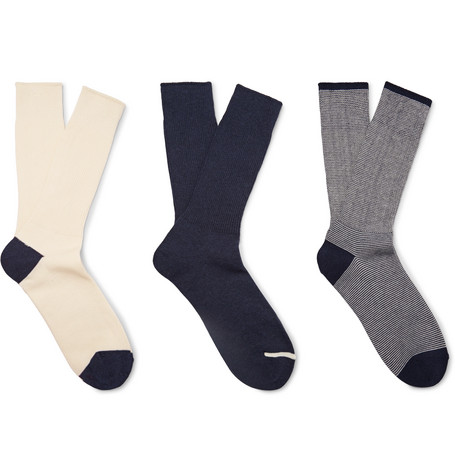 ANONYMOUS ISM Three-Pack Ribbed Cotton-Blend Socks