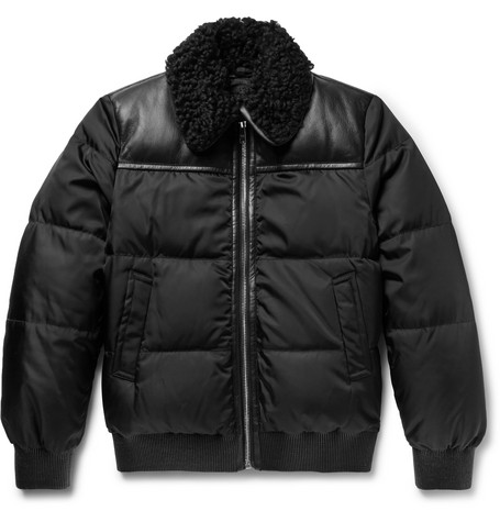 Shearling And Leather Trimmed Quilted Gabardine Down Jacket by Prada