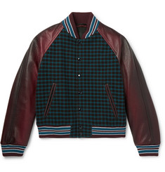 Prada Checked Virgin Wool-Blend and Full-Grain Leather Bomber Jacket