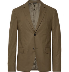 Prada Army-Green Slim-Fit Cotton-Poplin Suit Jacket