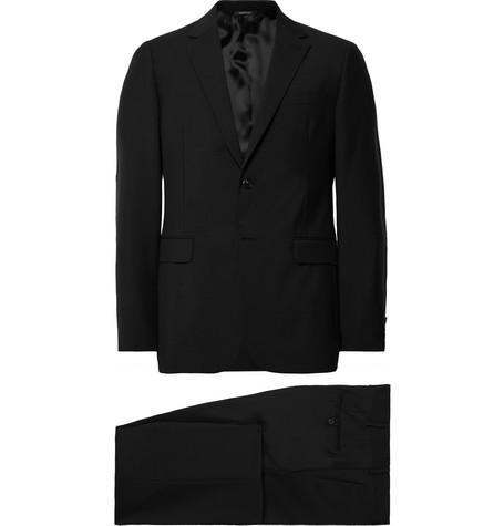 Black Tela Slim Fit Wool And Mohair Blend Suit by Prada