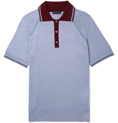 Prada Contrast-Tipped Virgin Wool and Silk-Blend Polo Shirt