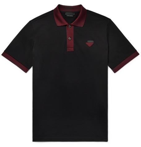 Contrast Trimmed Cotton Piqué Polo Shirt by Prada