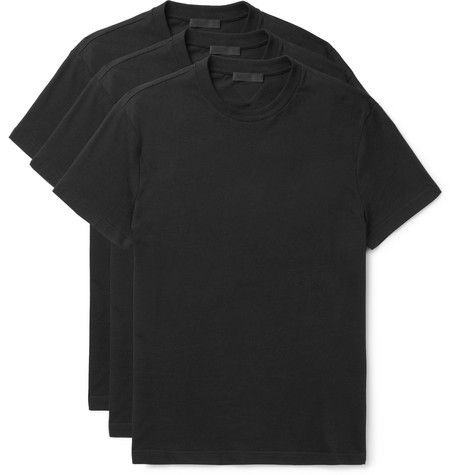Three Pack Slim Fit Cotton Jersey T Shirts by Prada