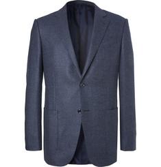 Zegna Blue Slim-Fit Milano Easy Birdseye Wool Blazer,Blue