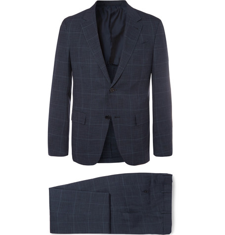 Navy Milano Easy Slim-fit Prince Of Wales Checked Wool And Silk-blend Suit