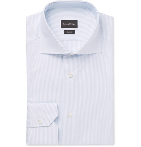 TROFEO WHITE SLIM-FIT CUTAWAY-COLLAR STRIPED COTTON SHIRT from MR PORTER