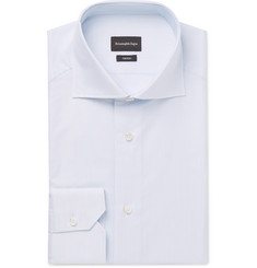 Ermenegildo Zegna Trofeo White Slim-Fit Cutaway-Collar Striped Cotton Shirt