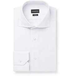 Ermenegildo Zegna White Trofeo Slim-Fit Cutaway-Collar Herringbone Cotton Shirt