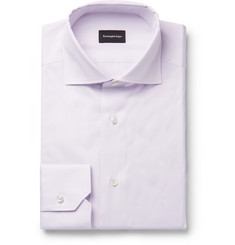 Ermenegildo Zegna Lilac Slim-Fit Cutaway-Collar Cotton-Twill Shirt