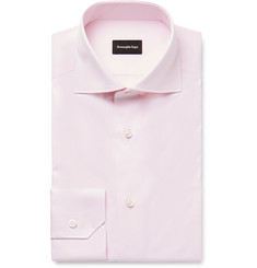 Ermenegildo Zegna - Pale-Pink Cutaway-Collar Cotton-Twill Shirt