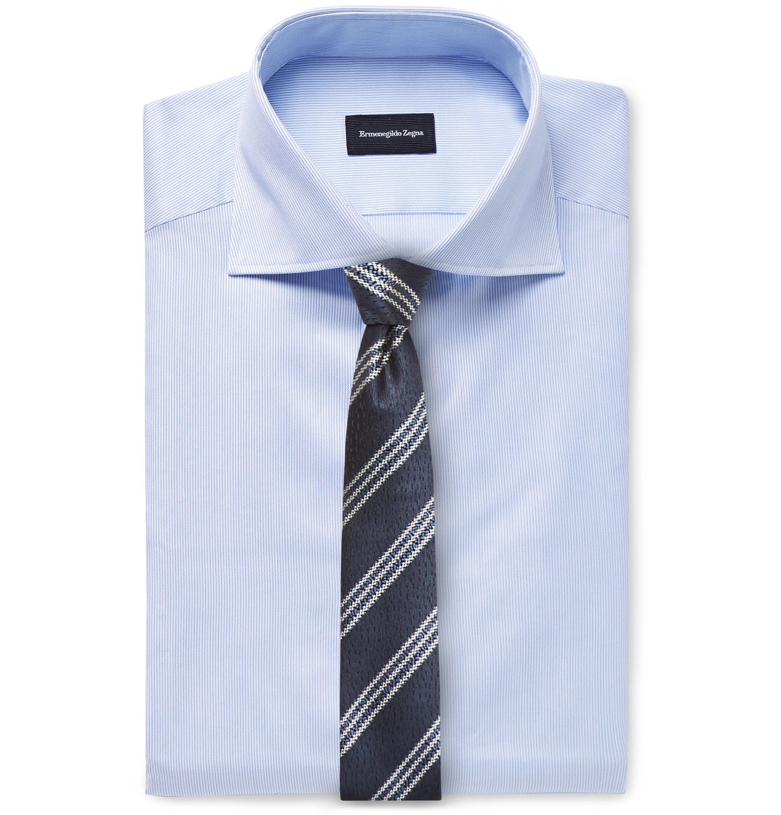 Ermenegildo Zegna Light Blue Cutaway Collar Striped Cotton Shirt