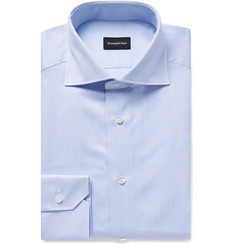 Ermenegildo Zegna - Light-Blue Cutaway-Collar Striped Cotton Shirt