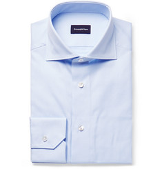 Ermenegildo Zegna - Light-Blue Cutaway-Collar Puppytooth Cotton Shirt