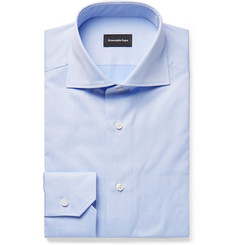 Ermenegildo Zegna Light-Blue Cutaway-Collar Cotton Shirt