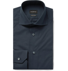 Ermenegildo Zegna - Midnight-Blue Trofeo Slim-Fit Cutaway-Collar Cotton-Poplin Shirt
