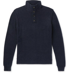 Ermenegildo Zegna Slim-Fit Leather-Trimmed Cashmere Sweater