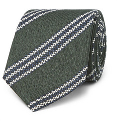 Ermenegildo Zegna 7cm Striped Textured-Silk Tie