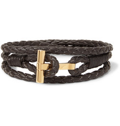 TOM FORD - Woven Leather and Gold-Plated Wrap Bracelet