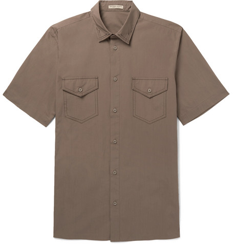 Garment Dyed Cotton Poplin Shirt by Bottega Veneta