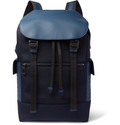 Bottega Veneta Intrecciato Leather-Trimmed Canvas Backpack